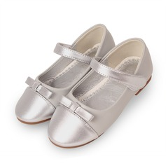 Girl's Leatherette Flat Heel Round Toe Closed Toe Flats With Bowknot Velcro