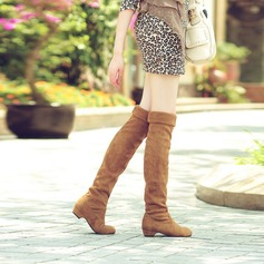 Women's Suede Kitten Heel Closed Toe Over The Knee Boots shoes
