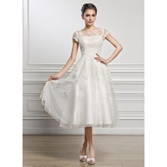 A-Line/Princess Scoop Neck Tea-Length Tulle Lace Wedding Dress With Beading Sequins (002056432)