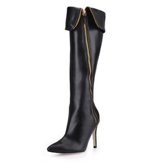 Leatherette Stiletto Heel Closed Toe Knee High Boots (088017137)