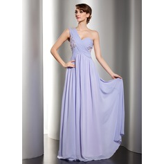 A-Line/Princess One-Shoulder Floor-Length Chiffon Holiday Dress With Ruffle Lace Beading Sequins