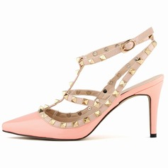 Patent Leather Stiletto Heel Sandals Closed Toe Peep Toe Slingbacks With Rivet shoes