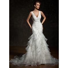 Trumpet/Mermaid V-neck Chapel Train Satin Organza Wedding Dress With Cascading Ruffles