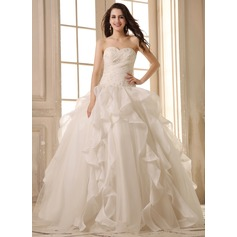 Ball-Gown Sweetheart Floor-Length Satin Organza Wedding Dress With Beading Appliques Lace Cascading Ruffles