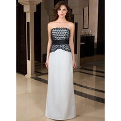 Sheath/Column Strapless Floor-Length Taffeta Lace Evening Dress