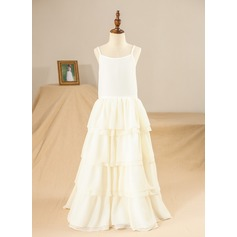 A-Line/Princess Ankle-length Flower Girl Dress - Satin/Composites/Spandex Sleeveless Straps With Ruffles