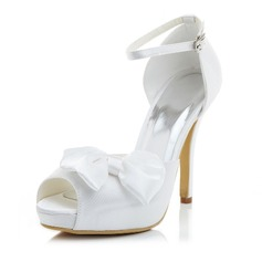 Women's Satin Stiletto Heel Pumps Sandals With Bowknot