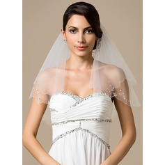 Two-tier Shoulder Veils With Beaded Edge