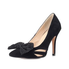 Real Leather Stiletto Heel Pumps Closed Toe With Bowknot shoes