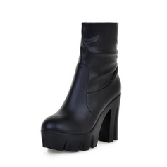 Leatherette Chunky Heel Platform Ankle Boots shoes