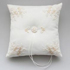 Lovely Ring Pillow in Satin With Faux Pearl/Embroidery