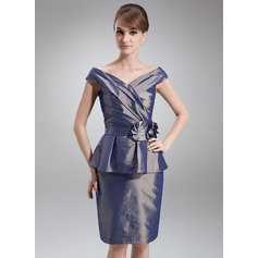 Sheath/Column Off-the-Shoulder Knee-Length Taffeta Mother of the Bride Dress With Beading Flower(s) Cascading Ruffles