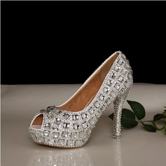 Women's Real Leather Stiletto Heel Peep Toe Pumps With Rhinestone Crystal Heel