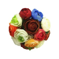 Colorful Round Satin Bridesmaid Bouquets