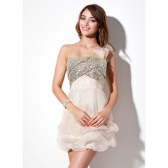 Empire One-Shoulder Short/Mini Organza Sequined Homecoming Dress With Ruffle