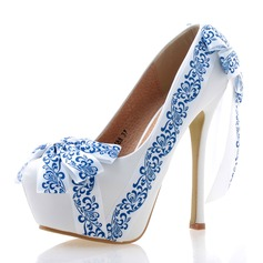 Women's Real Leather Stiletto Heel Closed Toe Platform Pumps With Satin Flower