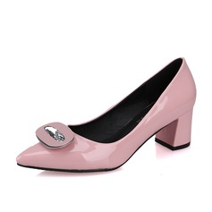 Women's Patent Leather Chunky Heel Pumps Peep Toe shoes