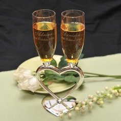 Personalized Heart design Zinc Alloy/Glass Toasting Flutes