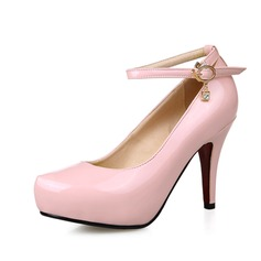 Women's Patent Leather Cone Heel Pumps Platform Closed Toe With Rhinestone Sequin shoes