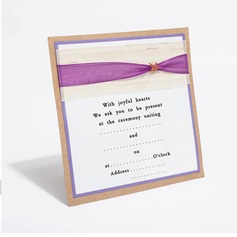 Personalized Classic Style Flat Card Invitation Cards With Ribbons