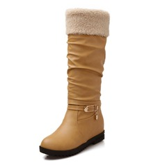 Women's Leatherette Flat Heel Flats Platform Closed Toe Boots Knee High Boots With Buckle shoes