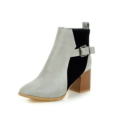 Women's Suede Chunky Heel Ankle Boots With Buckle Split Joint shoes