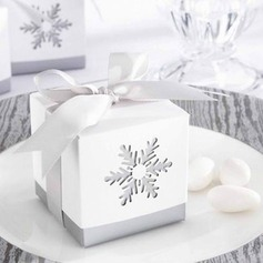 Snow Cut-out Cubic Favor Boxes With Bow (Set of 12)