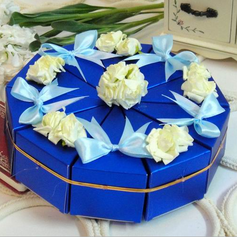 Elegant Pyramid Favor Boxes With Flowers/Ribbons (Set of 10)