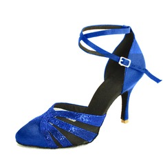 Women's Satin Heels Pumps Modern With Ankle Strap Buckle Dance Shoes