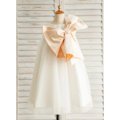 A-Line/Princess Short/Mini Flower Girl Dress - Satin/Tulle Sleeveless Scoop Neck With Bow(s)
