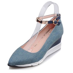 Women's Canvas Wedge Heel Closed Toe shoes
