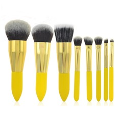 8 Pcs Synthetic Hair Lemon Handle Makeup Brush Set