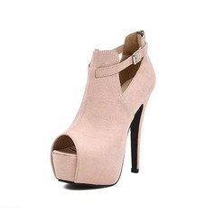 Suede Stiletto Heel Pumps Closed Toe Ankle Boots With Buckle shoes