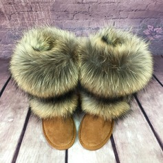 Women's Suede Flat Heel Mid-Calf Boots Snow Boots With Fur shoes (088104115)