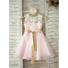 A-Line/Princess Knee-length Flower Girl Dress - Organza/Lace Sleeveless Scoop Neck With Sash/V Back