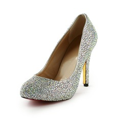Rubber Cone Heel Pumps Platform Closed Toe With Rhinestone shoes