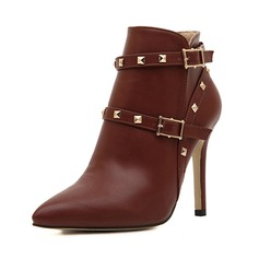 Leatherette Stiletto Heel Pumps Platform Closed Toe Boots Ankle Boots With Buckle Zipper shoes