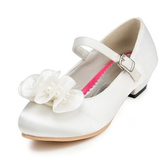 Girl's Satin Flat Heel Closed Toe Flats With Buckle Flower