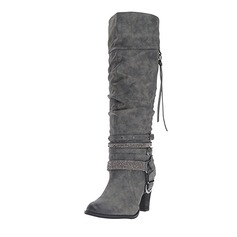 Women's Suede Stiletto Heel Boots Knee High Boots With Buckle Lace-up shoes