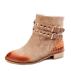 Women's Real Leather Chunky Heel Ankle Boots With Buckle shoes