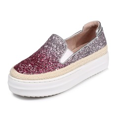 Women's Sparkling Glitter Flat Heel Platform Closed Toe shoes (086092173)