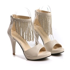 Leatherette Cone Heel Platform Sandals With Rivet Tassel