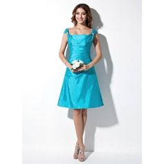 A-Line/Princess Off-the-Shoulder Knee-Length Taffeta Bridesmaid Dress With Ruffle Beading