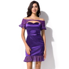 Sheath/Column Off-the-Shoulder Short/Mini Charmeuse Cocktail Dress With Cascading Ruffles