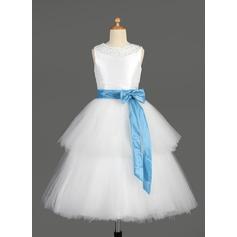 Forme Princesse Longueur mollet Robes à Fleurs pour Filles - Taffeta/Tulle Sans manches Col rond avec Ceintures/Brodé/À ruban(s)