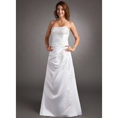 A-Line/Princess Strapless Sweep Train Satin Wedding Dress With Beading Appliques Lace