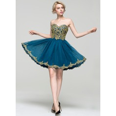 A-Line/Princess Sweetheart Short/Mini Tulle Lace Homecoming Dress