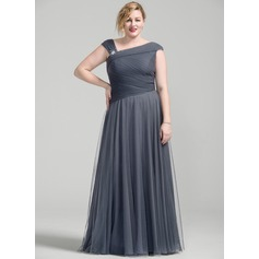 A-Line/Princess Floor-Length Tulle Mother of the Bride Dress With Ruffle Beading Sequins