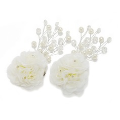 Artificial Silk Flowers & Feathers (Set of 2)