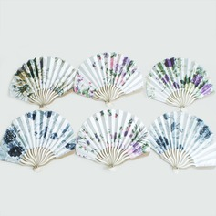 Floral Design Sandalwood/Silk Hand fan (Set of 4)